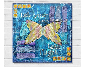 Original Mixed Media Collage / Painting / Canvas Art / Dreams / Take Flight / 12x12 / Rainbow Butterfly