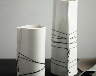 Hand Built Porcelain Flower Vases with Waxed Linen Stitching