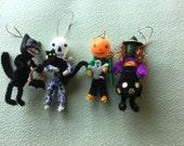 4 Halloween Vintage Look Ornaments-Vintage Cup Cake Picks,Witch,Pumpkin,Skeleton,Black Cat-Tinsel, Dresdens,Chenille