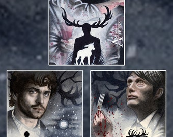 Home - Hunters - Hungry - Will Graham & Hannibal Lecter - Hannibal Traditional Art Watercolor Paintings - Three ACEO Prints - Hand Signed