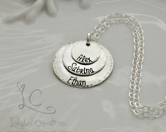 Sterling Silver Metal Stamped Necklace, Personalized Mothers Necklace, Custom Hand Stamped Necklace, Kids Name Necklace, Personalized Gift