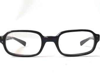 vintage 1950's bausch and lomb horn rim eyeglasses black plastic frames square mens womens prescription mid century modern retro eye glasses