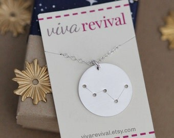 Constellation Necklace, Zodiac Sign Constellation, Personalized Disc Jewelry Sterling Silver