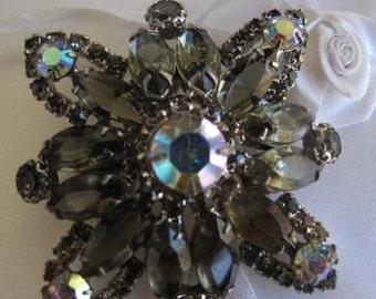 Vintage Smoky Gray Rhinestone Brooch Estate Jewelry