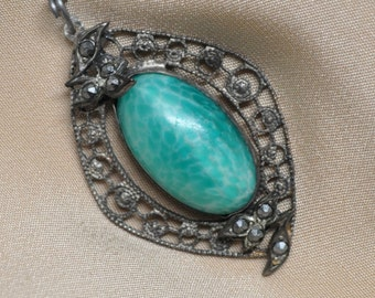 Authentic Vintage Peking Glass Pendant with Hemetite Colored Rhinestones