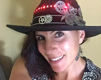 Black Hat w/ Red LED Lights, Silver Applique, Steampunk Bohemian Women's Floppy Wide Brim Hat - Illuminated, Light Up, Burning Man, Festival