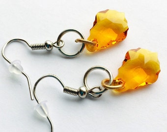 Swarovski crystal earrings, topaz earrings, dangle earrings, november birthstone, silver earrings, yellow earrings