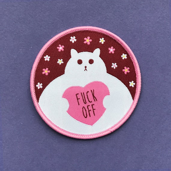 Funny cat patch iron on sew
