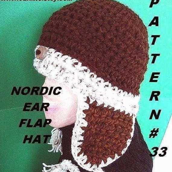 Crochet hat pattern num 33, NORDIC UNISEX EARFLAP Hat, num. 33...instant download