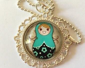SALE - Matryoshka - Matryoshka Doll Necklace - Russian Nesting Doll Necklace - Nesting Doll Jewelry - Gift - Under 20 dollars