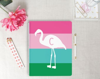 Flamingo Stripe Monogram Spiral Notebook | Flamingos for a Cure | Breast Cancer Awareness Gift | Personalize Gift for Her | Tropical