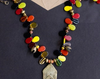 On Sale African Wedding Bead Necklace Colorful Vintage Glass Drops Red Yellow Black w African Brass Bells and Hut Tribal Jewelry