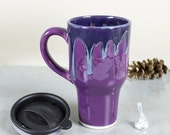Ceramic Coffee Travel mug with handle, Amethyst Purple Lavender Blue with black lid pottery Kitchen gift for him / her