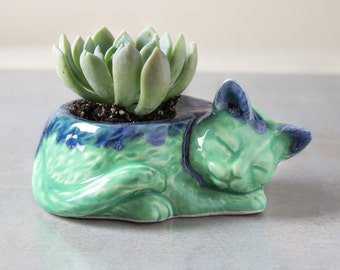 IN STOCK Kitty planter, ceramic no concrete succulent planter air plant mint green blue plant pot cat lover gift desk decor accessory