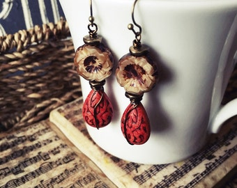 Fall Blossom Earrings, Burnt Orange and Mocha, Drop Earrings, Antiqued Brass, Wire Wrapped