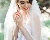 Satin Ribbon Veil, Veil, Ribbon Veil, Wedding Veil, White Veil, Ivory Bridal Veil, Fingertip Veil, Ribbon Edge Veil, Cathedral Ribbon Veil