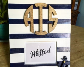Nautical 5x7 Monogrammed picture frame with anchor accent