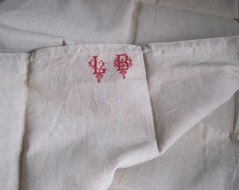 Superb unused antique French hemp sheet with beautiful monogram.  Great tablecloth, curtain or upholstery fabric.