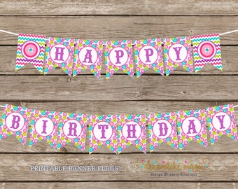Cute as a Button, Birthday Banner, Happy Birthday, Printable Banner Files, DIY Printable Party Banner, Buttons, Sew Sweet