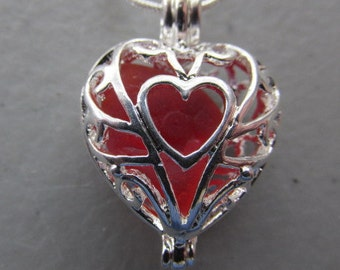 Heart Locket Pendant, Red Genuine Sea Glass, Red Locket, Beach Glass Jewelry -  Sea Glass Pendant