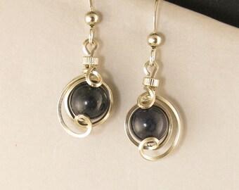 Dark Blue Lapis Lazuli Gemstone Earrings, Sterling Silver Drop Dangle Wire Wrapped Earrings