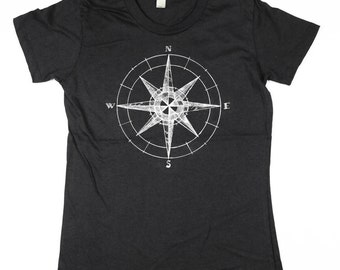 Womens Compass shirt - Illiustrated Comapss TShirt- Organic Cotton - Small, Medium, Large, XL