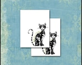 Cool Cat Personalized Stationery / 10 Note Cards / Cat Lover / Fancy Black Feline / Pretty Kitty / Psychedelic / Zentangle Inspired