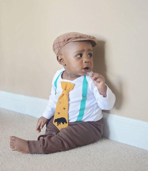 Baby Boy Clothes Teal Mustard Camping Bear Cute Boho