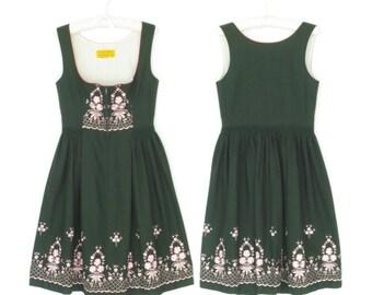 Vintage Dirndl Dress * Alpine Folk Dress * Floral Embroidered Dress * Large