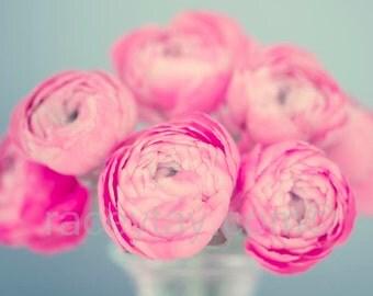 Ranunculus Photo - Pastel Flower Photograph - Pink Flower Photo - Blue Green Gray Bedroom Wall Art