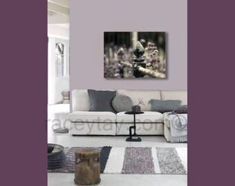 Paris Decor, Large Canvas Art in Purple Mauve Gray and Black, Paris Photography on Canvas - Rustic Old Fence