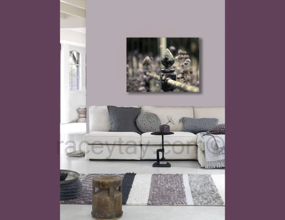 Paris Decor, Large Canvas Art in Purple Mauve Gray and Black, Paris Photography on Canvas - Rustic Old Fence