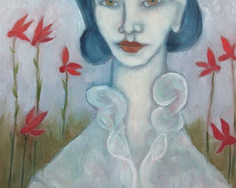 Folk art oil painting portrait woman with red flowers figurative expressionist original on linen