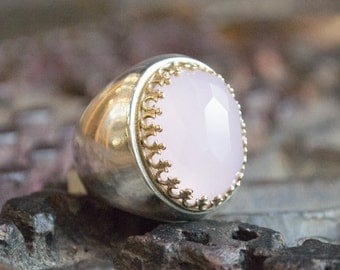 Rose quartz ring, Gemstone Ring, silver ring, gold ring, twotones ring, statement ring, cocktail ring , Pink ring - Too much in love R1113XH