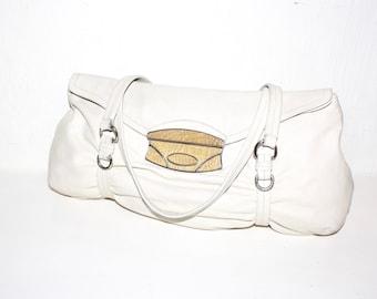 Vintage PRADA Off White Leather Lizard Skin Tote - AUTHENTIC -