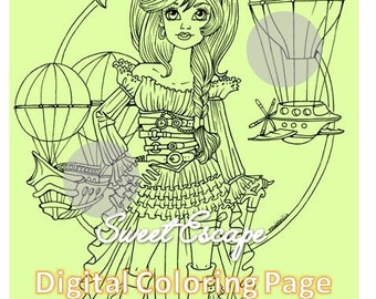 Steampunk Woman Coloring Page