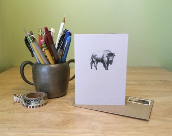Buffalo note card. Recycled note card with text about buffalo bison on the back. Natural history card.