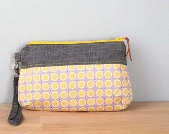 Wristlet Clutch, Zipper Bag, Small Purse in Gray Linen with Yellow Polka Dots