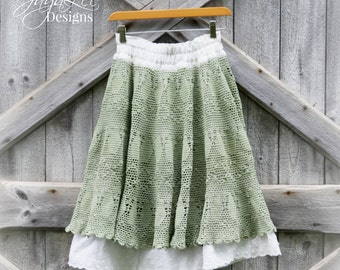 Shabby Green Lace Skirt Mori Girl Clothing
