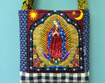A sun and a thousand tzars LADY GUADELOUPE Virgin Mary quilted tote bag handmade Tanzania textile Shweshwe vintage fabric