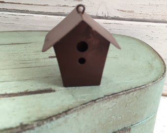 Mini Birdhouse, Rustic Tin Metal Birdhouse, Mini House with Hanging Loop, Miniature Garden Decor, Accessory, Crafts, Topper