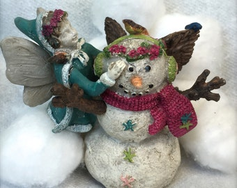"Miniature Garden Fairy and Snowman Figurine, ""Aubrey's Snowman"" Fairy Garden Figurine, Accessory, Home & Garden Decor"
