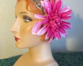 ATS Hair Flower Pink Fuchsia Peony swarovki rhinestone bellydance belly dance cabaret tribal burlesque
