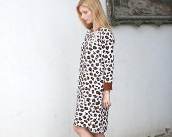 Long sleeve Leopard midi Tshirt shift dress - 50% off