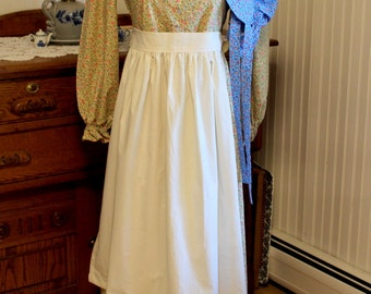 SALE!! Girl's Simple Pioneer Dress w/ Half Apron and Bonnet Size 12 -Ready to Ship