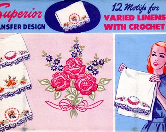 1940s Embroidery Transfer for Pillowcases Towels Linens - Superior Transfer Design 168 - UNUSED Roses Pansies Daisies Floral