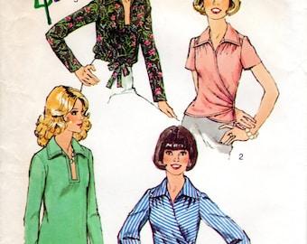 1970s Surplice Blouse Pattern - Vintage Simplicity 6109 - Bust 34 UNCUT FF