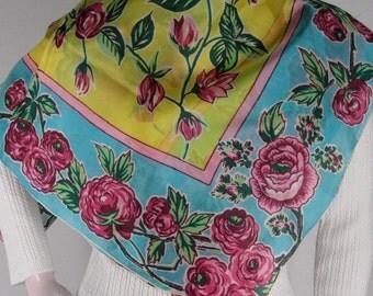 "Floral Print Silk Scarf Peony Peony Shaped Corners Aqua Pink Yellow Hand Rolled Hem 34"" sq"