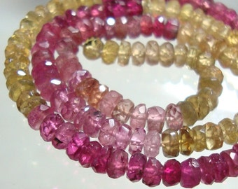 3.5-4mm, AA Yellow Pink Gorgeous Sparkling Watermelon Tourmaline Faceted Rondelles