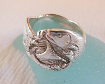 Antique Spoon Ring Sterling Silver Adjustable